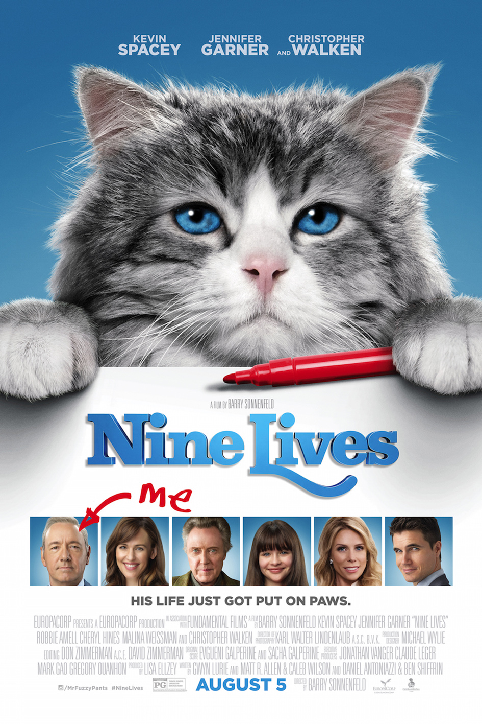 Nine Lives  [2016 France & China Movie] English Family, Comedy, Fantasy